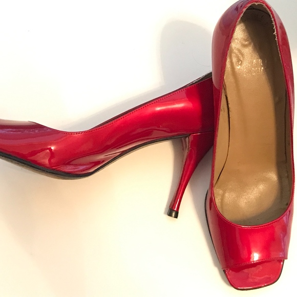 Red Patent Peep Toe Heels